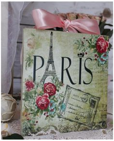 """Paris & Roses"" Vintage~Shabby Chic~Country Cottage style ~ Wall Decor Sign $16.29"