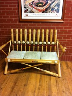 Superbe This Bench Reminds Me Of My Brother In Law Scott Lol. Baseball BatsSports  BaseballBaseball StuffBaseball FurnitureSports Themed ...