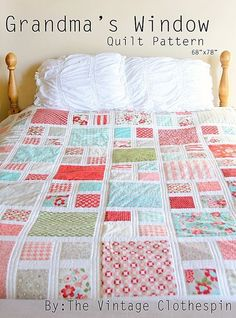 **This is a quilt pattern in PDF form. This listing is not for a finished quilt** Quilt size: 68x78 You will be sent a link for this PDF ready for download immediately! :) I was so lucky to have my Momma here for the summer. When I showed her my quilt sketchbook and my new favorite fabric she asked if she could be the first to make this quilt. It was her first quilt ever. My kids think it looks like lots of windows and thus the Grandmas Window Quilt was born. This pattern includes plenty ...
