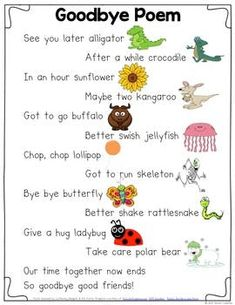 Goodbye Poem - Classic classroom displays for kids - Goodbye Rhyming Poem - Kindergarten Poems, Preschool Poems, Kids Poems, Preschool Classroom, Preschool Activities, Preschool Goodbye Song, Preschool Transitions, Children Songs, Quotes Children
