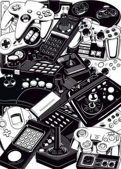 rechirax:  Retro Gaming: Joysticks & Controllers by  Yves-José Malgorna Freelance Graphic Designer.  22 famous retrogaming joystcks and controllers, from video game consoles : Atari Jaguar, Atari 2600, Atari 5200, Atari 7800, ColecoVision, Magnavox, Nintendo Gamecube, Nintendo N64, Nintendo Super Famicom, Nintendo Wii, Panasonic 3DO, Sega Master System, Sega Dreamcast, Sega Genesis, Sega Saturn, SNK Neo Geo, Sony Playstation, TurboGrafx-16, Microsoft xbox 360.