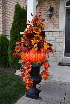 Decorating With Urns the Fall Edition - Fox Hollow Cottage Decorating With Urns the Fall Edition - Everything URNS! See a beautiful collection of Urn decorating ideas and inspiration to get you in the mood for Fall! Autumn Decorating, Decorating Ideas, Interior Decorating, Craft Ideas, Decor Ideas, Fall Containers, Fall Planters, Succulent Planters, Fall Arrangements