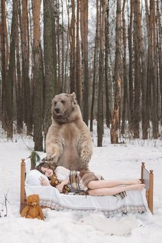 Dreamlike Scenes With A Kilogram Brown Bear Moscow Russia - Russian photographer takes enchanting fairytale photos featuring wild animals