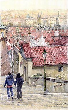 Prague Zamecky Schody Castle Steps, water colour by Yury Shevchuk