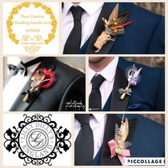 Bespoke alternative button holes from Lilly Dilly's  #wedding #alternative #bespoke #Lilly Dilly's #men #groom #ushers #bridal party #feathers #cork #bullet #unique