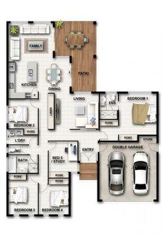 Design Range - Cougar Homes Porch House Plans, House Layout Plans, House Plans One Story, Bungalow House Plans, Bungalow House Design, Bedroom House Plans, Dream House Plans, Small House Plans, House Layouts
