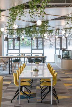 Beyond Science Offices - Shanghai - Office Snapshots Office Space Design, Office Interior Design, Office Interiors, Office Ceiling Design, Comedor Office, Office Canteen, Cafeteria Design, Work Cafe, Office Floor