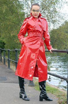 Alle Größen   Buttoned Up Scarlet PVC Trench Coat Spy Princess   Flickr - Fotosharing!