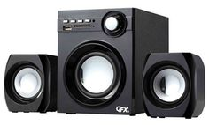 Groupon - QFX 2.1-Channel Wireless NFC Bluetooth Speaker System in [missing {{location}} value]. Groupon deal price: $29.99