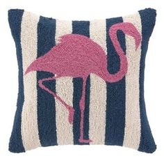 Pink Flamingo with Navy Blue Stripes Pillow - we are crazy about this new pillow!! $58.95