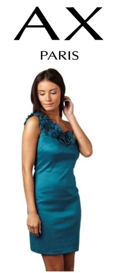 Ax Paris Women s Corsage One Shoulder Dress Teal Size 12