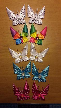 DIY Kanzashi Satin Ribbon Dragonfly - Her Crochet Diy Crafts Butterfly, Fabric Butterfly, Flower Crafts, Fabric Flowers, Ribbon Art, Diy Ribbon, Ribbon Crafts, Ribbon Flower, Diy Hair Bows