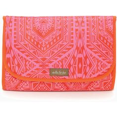 Stella & Dot Hang On Travel Case - Pink Orange Medallion ($39) ❤ liked on Polyvore featuring beauty products, beauty accessories, bags & cases, toiletry bag, make up bag, makeup purse, dop kit and wash bag