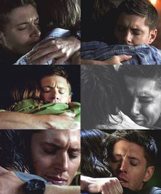 The little second that Dean takes to close his eyes and breathe every time he hugs Sam. CRYING