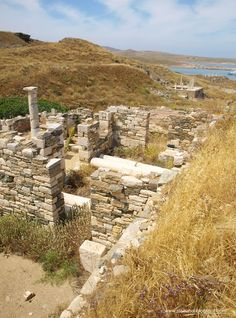 Delos, Greece  Ruins of a luxurious ancient greek house and an altar in ancient Delos