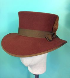 1ce003954d8 HAT womens wide brimmed topper in rust colored 100% beaver by hatWRKS