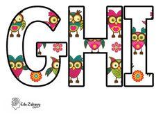 Sówki: litery duże Flower Wallpaper, Symbols, Letters, Flowers, Art, Art Background, Icons, Florals, Kunst