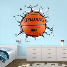 Wrecking Basket Ball - Moon Wall Stickers