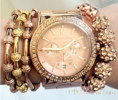 Rose gold jewelry. Love this Michael Kors watch.