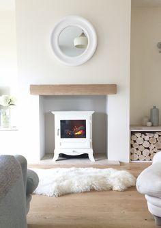 Log burner fireplace, cosy! #sheepskin rugs