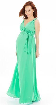 La robe grossesse longue resserrée sous la poitrine vert menthe Envie de Fraises est un vêtement maternité tendance et confortable. Avec sa matière fluide et son élastique sous la poitrine, cette robe femme enceinte est très élégante !