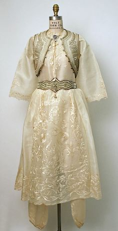 Ensemble, ca. 1900, Turkish, wool, silk, metal and leather via Metropolitan Museum of Art