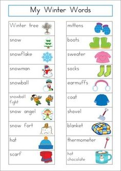 Winter Word Wall {56 words}. Includes a personal word wall for students, a file-folder word wall for the writing/word work center and big cards for the classroom wall in color and black and white. ALSO comes with several different word wall worksheets.