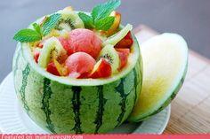 fresh fruit in a mini watermelon - great idea for hosting
