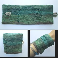 Textile Art Cuff Mermaid Wrap Bracelet Eco by MoonbeamsKissTheSea, £16.95 hippy, ethnic , tribal , lagenlook boho mermaid and sea , river fairy fantasy cos play accessory