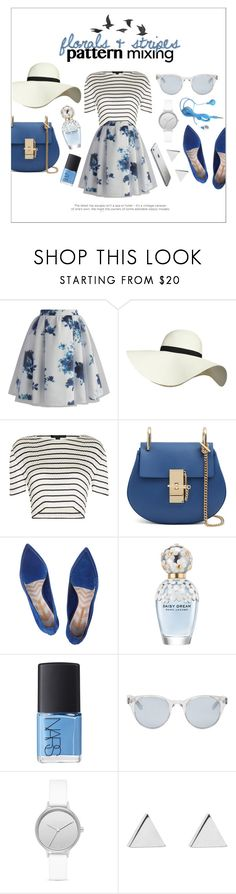 """""""pattern mixing: florals & stripes"""" by fernweeh ❤ liked on Polyvore featuring Chicwish, Pilot, Alexander Wang, Nicholas Kirkwood, Marc Jacobs, NARS Cosmetics, Sun Buddies, Skagen, Jennifer Meyer Jewelry and Jayson Home"""
