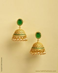 The Sakhi online collection features an enticing range of Womens earrings created using mix-metal and faux gemstones. We offers fancy,fashion , wedding and Pearl earrings at affordable price. Gold Jhumka Earrings, Jewelry Design Earrings, Gold Earrings Designs, Small Earrings, Gold Jewellery Design, Designer Earrings, Ear Jewelry, Necklace Designs, Diamond Jumkas