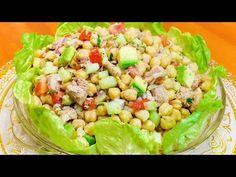 ENSALADA DE GARBANZOS CON ATUN   FRESCA Y NUTRITIVA   Sazón y Corazón - YouTube Pasta Salad, Healthy Recipes, Healthy Food, Dips, Salads, Mango, Vegetables, Ethnic Recipes, Salad Dressings