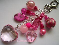 Love my Pink Chunky Heart Bag Charm NEW by sunnyteddy on Etsy, £5.00