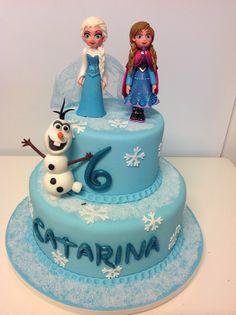 Frozen cake, elsa, Anna, Olaf