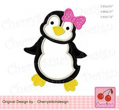 Penguin girl Embroidery Applique Winter Animal Machine