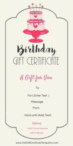 Free Printable Birthday Gift Certificate Template That Can Be Customized Online With Our Maker And Printed At Home
