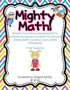 MIGHTY MATH! 2nd Grade CCSS Weekly Math Assessments - Hippo Hooray for Second Grade!