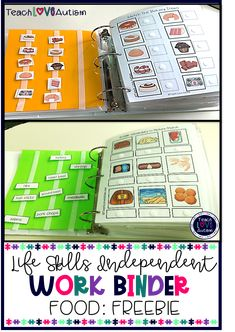 Food Independent Work Binder FREEBIE This life skills independent work binder free resource helps students work on concepts related to food. These are perfect for life skills and para-led or independent stations in a preK, kinder, Life Skills Activities, Life Skills Classroom, Teaching Life Skills, Teaching Special Education, Toddler Learning Activities, Preschool Learning Activities, Autism Classroom, Educational Activities, Life Skills Kids