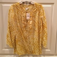HOST PICK NWT JCrew masque print Gianna blouse NWT JCrew masque print Gianna blouse. 3/4 length sleeve. Size 8, buttercup. 57%cotton/43%silk. Very light, soft fabric. No trades. J. Crew Tops