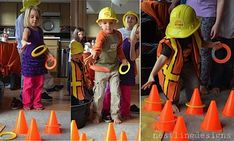 construction party games: cone ring toss, stop sign freeze dance, dump truck bean bag toss by simone Birthday Activities, Birthday Party Games, Party Activities, Birthday Fun, Birthday Ideas, Digger Birthday, Birthday Banners, Birthday Invitations, Construction Party Games
