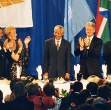The Hunger Project mourns the loss of Nelson Mandela. Photo: Mandela at the 1994 Africa Prize