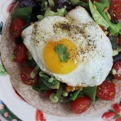 Taco salad with fried egg