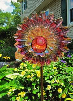 garden art. vintage glass flower plateupcycled by ADelicateTouch1