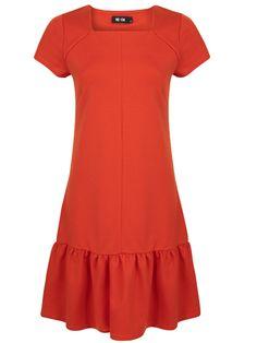 ME+EM Frill Shift Dress. Citrus Red. Italian Tailoring Jersey.