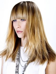 Straight bangs on blonde hair