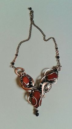 Tangled copper wire wrapped necklace with natural by Tangledworld