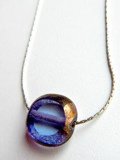 Simple Glass Necklace - Czech Glass Necklace - Simple Pendant Necklace