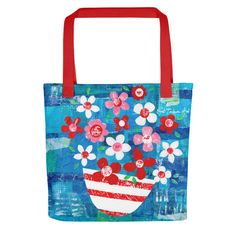Mixed Media Flowers Tote features a stylised still life collage-painting of springtime flowers in my Greek studio. A strong, capacious, fully-lined tote bag featuring evocative Greece and Mediterranean-inspired artwork. The colour, texture and detail of the original paintings are reproduced beaut