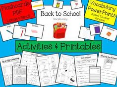 ESL Back to School Vocabulary Powerpoints and printable activities and worksheets.  Great for beginning students.  2 Powerpoints-one with audio and one without.  CHECK IT OUT!!