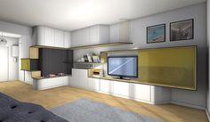 La Maison France 5 - Créer un bureau/console tv entre une entrée et un séjour